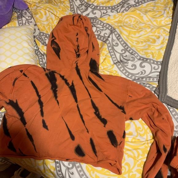 Orange and black tye dye ish sweatshirt